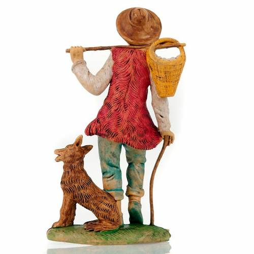 Pastore con Cane e cesto in spalla 18 cm 2