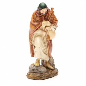 Statue per presepi: Pastore con zampogna resina dipinta cm 12 Linea Martino Landi