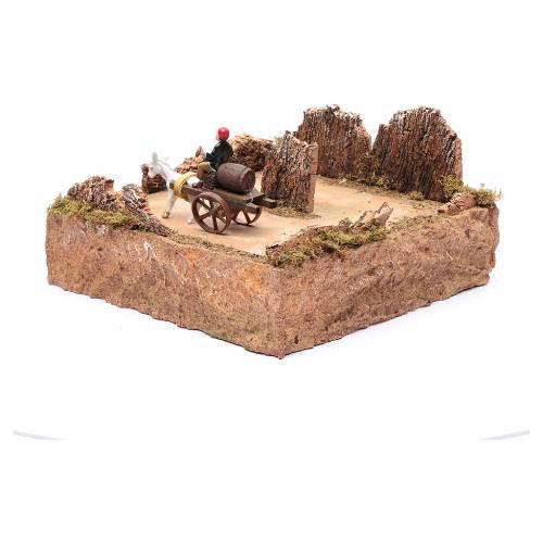 Pastore in movimento su carro con cavallo ambientazione presepe s2