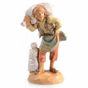 Statue per presepi: Pastore sacco in spalla 6,5 cm Fontanini