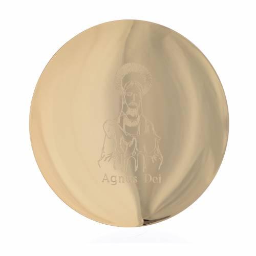 Patena ottone dorato cm 14 incisione Agnus Dei s1