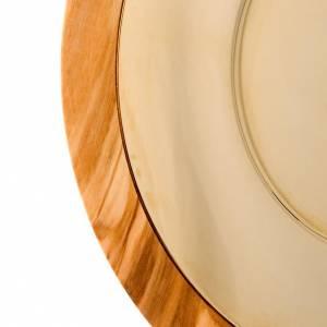 Patène bois d'olivier et laiton doré 18 cm s4