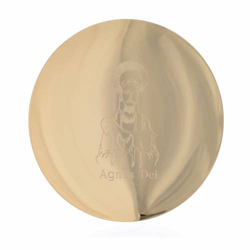 Patène laiton doré 14 cm incision Agnus Dei s1