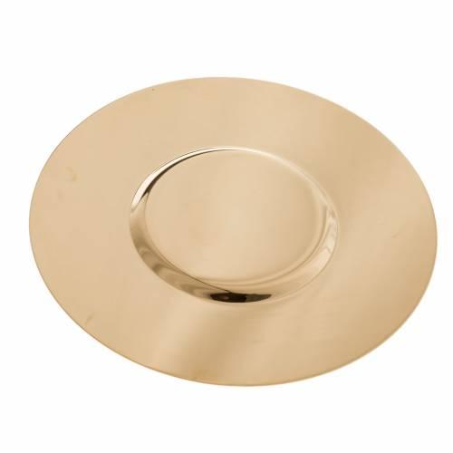 Patène laiton doré lucide fond modelé 15cm s3