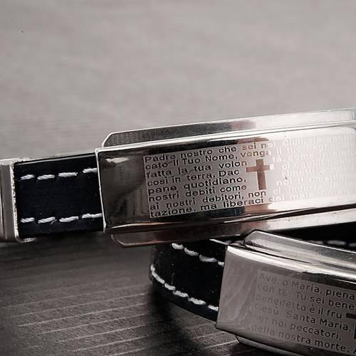 Pater Noster, Ave Maria black leatherette bracelet s3