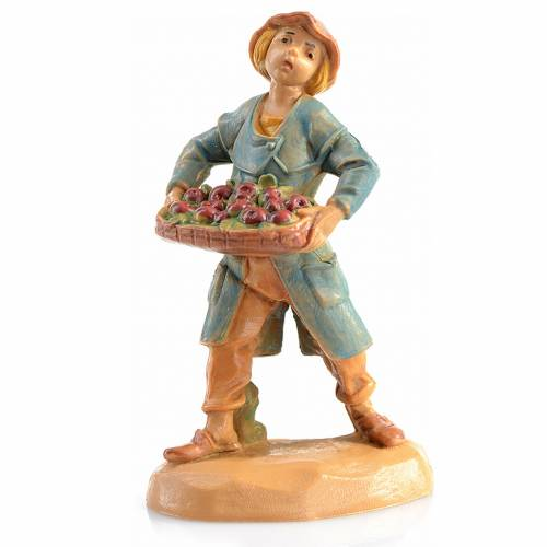 Paysan avec cagette de pommes crèche Fontanini 6,5 cm s1