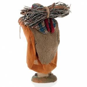 Crèche Napolitaine: Paysan avec bois 10 cm terre cuite