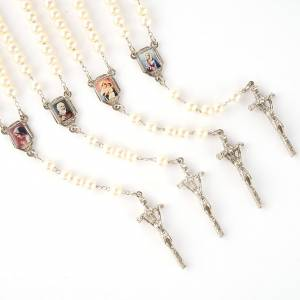 Pearled rosary with images (14 diam) s1