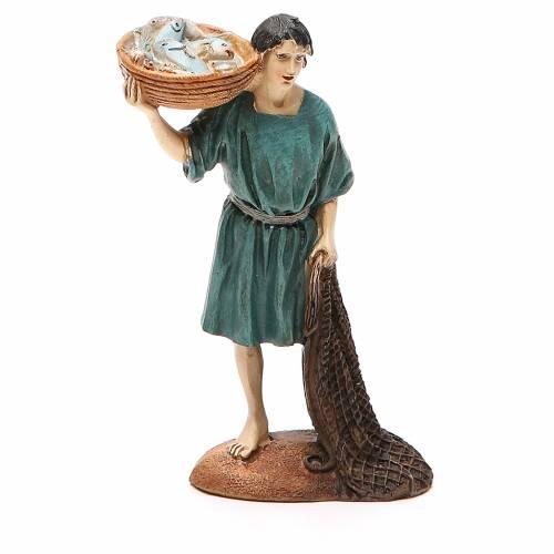Pêcheur avec filet et panier résine peinte 12 cm gamme Martino Landi s1