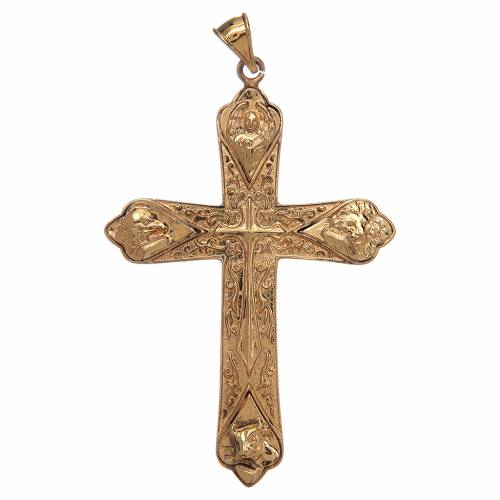 Pectoral cross in gold-plated sterling silver with 4 evangelists s1