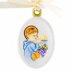 Bonbonnière: Pendant Boy First Communion oval shaped 6cm