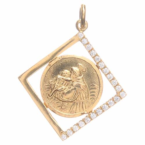 Pendant charm in 800 silver with Saint Anthony of Padua 1.6x1.6cm s1