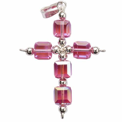 Pendant cross, pink cubic Swarovski s1
