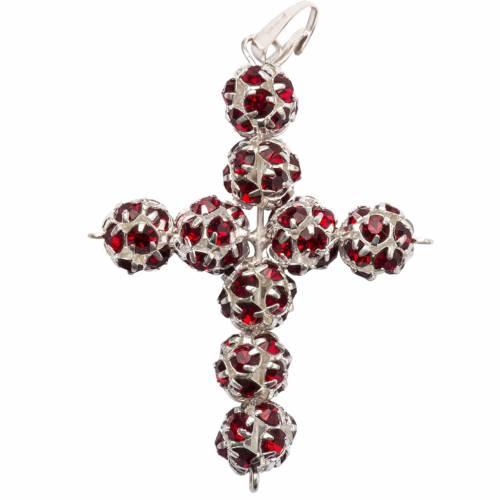Pendant cross, red Swarovski ball diam. 0,31in s1