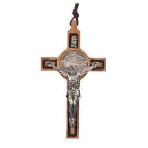 Wooden cross pendants: Pendant cross St Benedict olive wood