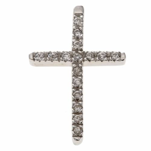 Pendant cross, sterling silver and rhinestones 3cm s1