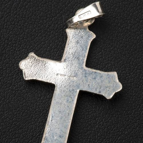 Pendant crucifix in 800 silver 2x3 cm, dotted pattern s3