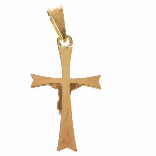 Pendant crucifix in gold-plated silver, pointed s2