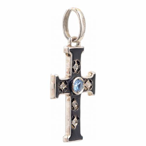 Pendant Romanesque cross, sterling silver, stone, oxidised finis s2