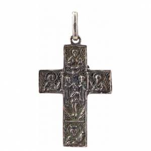 Pendant Slavic cross in sterling silver, silver finish s2