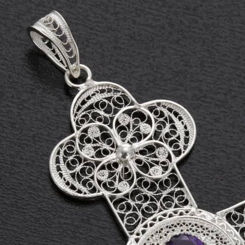 Pendente croce ametista filig. argento 800 - gr. 10,8 s5