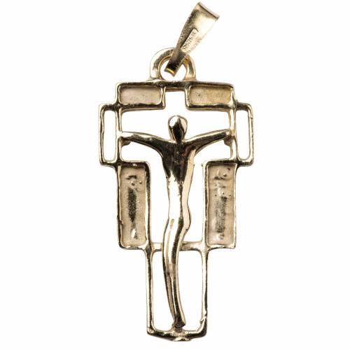 Pendente croce moderna dorato s1