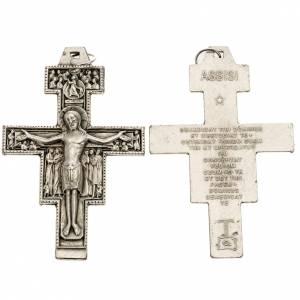 Pendenti croce metallo: Pendente croce San Damiano metallo argentato h 8,5 cm
