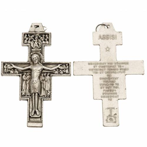 Pendente croce San Damiano metallo argentato h 8,5 cm s1