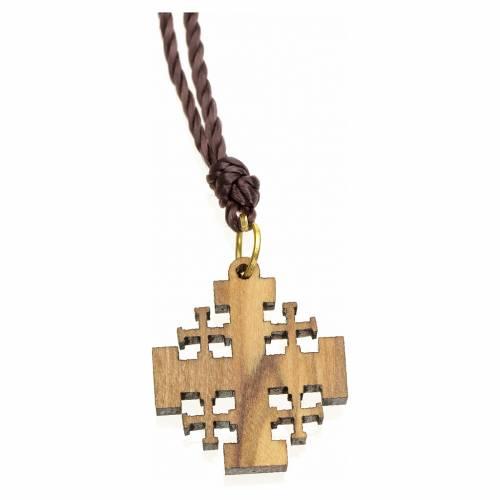 Pendentif croix de Jérusalem bois d'olivier Terre Sainte s2