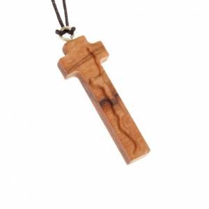 Pendentif crucifix stylisé bois d'olivier s1