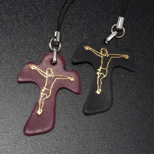 Pendentif en croix tau cuir,pour téléphone s2