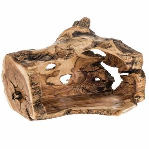 Belén olivo de Jerusalem: Pesebre completo en madera de olivo Betlemme, con cueva 14cm