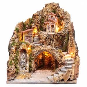 Pesebre napolitano iluminado cascada y casas 40x35x30 s1