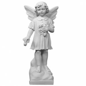 Petit ange avec fleurs marbre blanc 60 cm s1