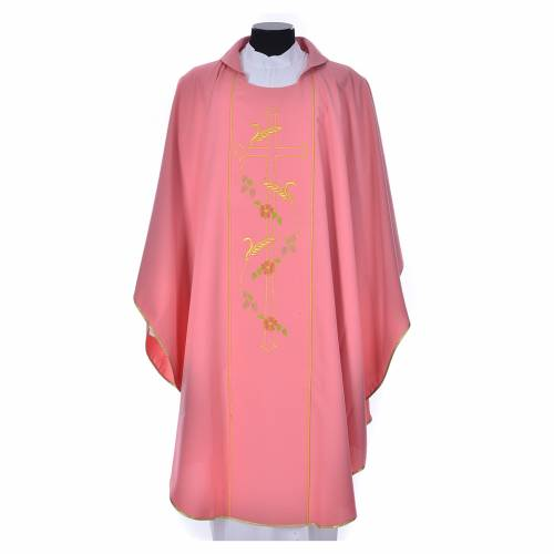 Pink chasuble in 100% polyester, cross, ears of wheat s1