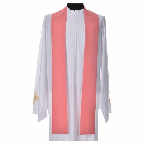 Pink Chasuble in polyester with Chi Rho and Loaves and Bread s7