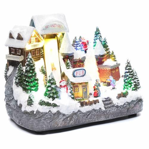 Pista da sci natalizia con albero in movimento 25x30x15 cm s3