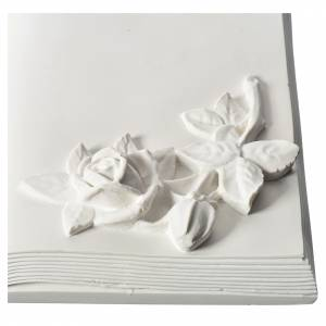 Plaque book for cemetery in reconstituted marble with roses s2
