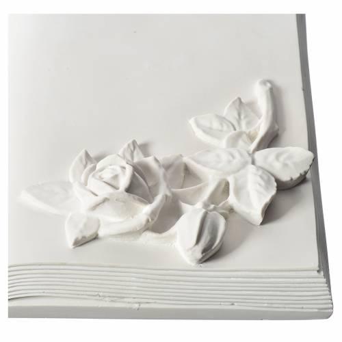 Plaque funéraire livre et boutons de rose marbre reconstitué s2