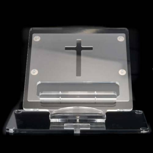 Plexiglass book stand with cross s2