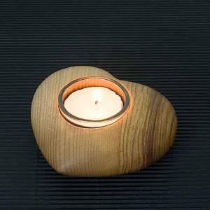 Dekoracje bożonarodzeniowe do domu: Podstawka na podgrzewacz świeczkę serce drewno