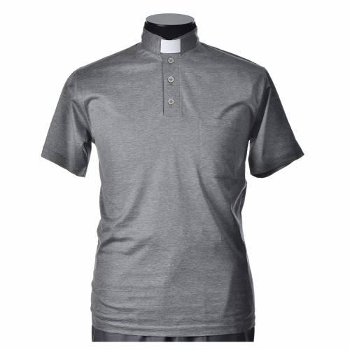 Polo manga corta hilo de escocia gris claro s1