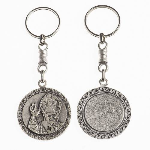 Pope Benedict XVI keychain, 38mm galvanic antique silver 1