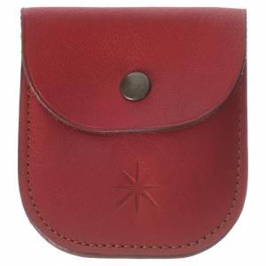 Porta rosario decina pelle rossa Monaci di Betlemme s1