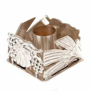 Candelieri metallo: Portacandela altare spighe uva