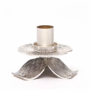 Candelieri metallo: Portacandela bronzo argentato croci e decorazioni