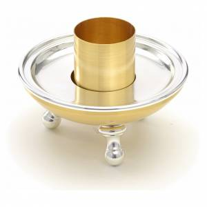 Candelieri metallo: Portacandela ottone argentato