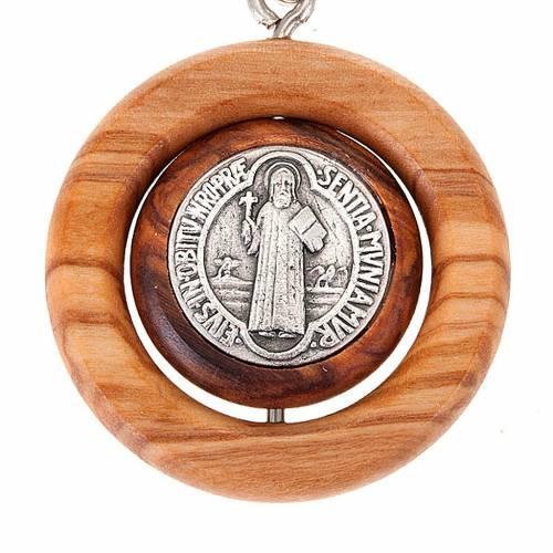 Portachiavi medaglia girevole san Benedetto s2