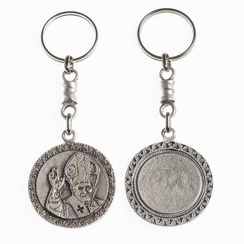 Portachiavi Papa Benedetto XVI diam. 38 mm galvanica argento ant s1