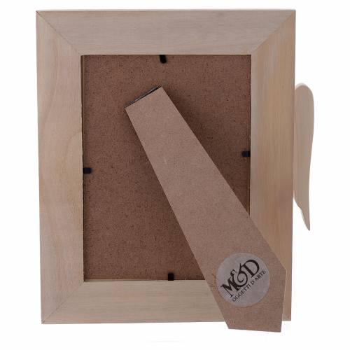 Portafoto in legno argento e strass angelo corteccia 25x21 cm s3